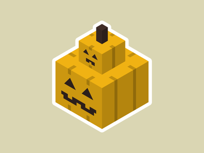 Papamkin and Pumpkid cute square vector isometric spooky halloween pumpkin