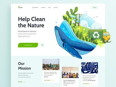 Pollution control community webpage pollution environment green blue ui illustration web design web ui  ux uiux