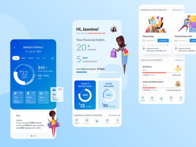 'Finversity': Budgeting and Savings App expense manager expense tracker goals financial app chart design illustration uiux mobile ui mobile app savings budget budget app finance