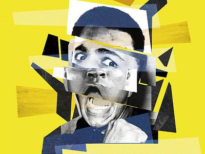MUHAMMED ALI music app cutandpaste retro flat typography graphics design collageart collage illustration winner champion boxer boxing ali muhammad ali