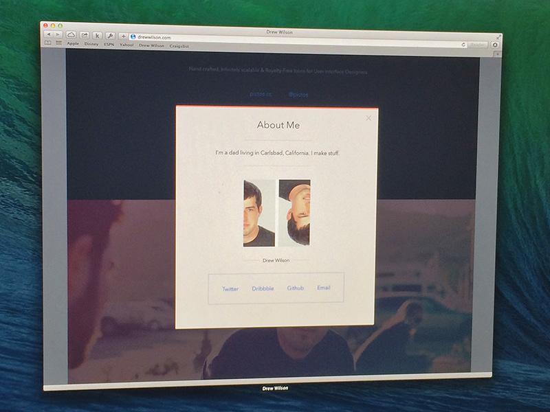 New Personal Site website portfolio homepage modal