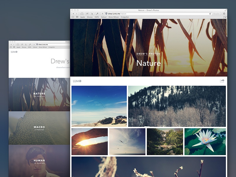 New Lumo Theme photos photography pictures grid layout albums portfolio