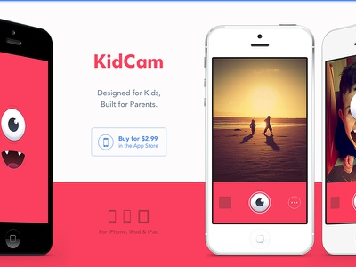 KidCam Website website homepage app kids ios photo monster