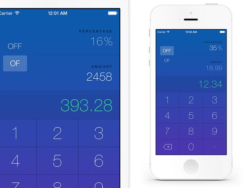 OffOf - Percentage Calculator app ios calc numbers keyboard keys math
