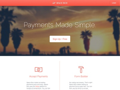 Space Box: Launched! app homepage ui web payments stripe forms