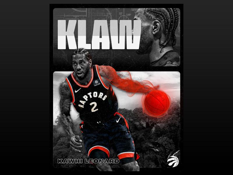 """The Klaw"" Toronto Raptors Social Media Graphic kawhi red blackandwhite nba torontoraptors sportsgraphics graphicdesign"