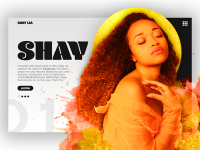 Shay Lia artist student work ui userinterface webdesign gold blackandwhite graphicdesign music hiphop rb