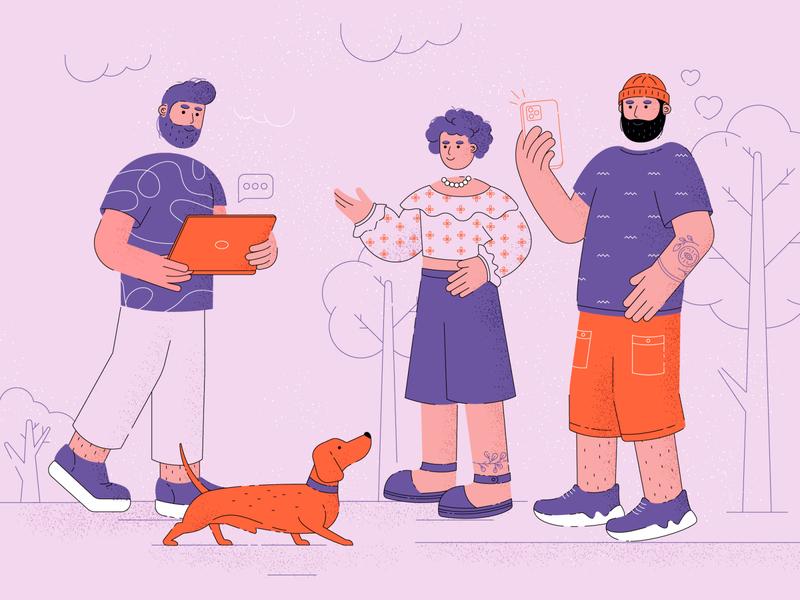 Being casual illustrator illustrations fun dog street 2d app illustration minimalist vector line flat ui trend casual character illustration stylish man girl digital illustration