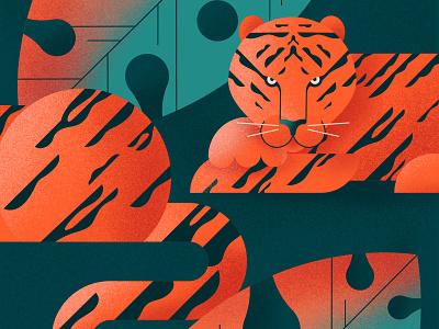 Tiger in the jungle nature tropics art texture minimalist digital illustration character modern flat predator animal illustration jungle tiger