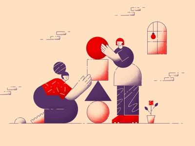 Team Work modern abstracts office process people girls shapes geometric flat minimalist character strategy creating development characters work team
