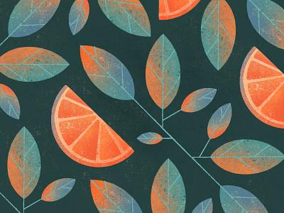 Oranges textures leaves flat food design food fruit orange modern art illustration pattern