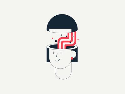 You Magic Brain vector minimalist fun modern flat geometric character weird rainbow brain strange head