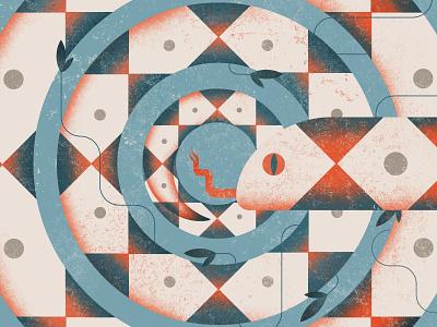 SNAKE modern flat animal nature colorful geometric minimalist illustration art snake