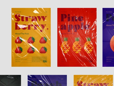 Poster Design fruits poster geometric illustrations typography pineapple juice strawberry minimalist bold modern illustrations fruits poster