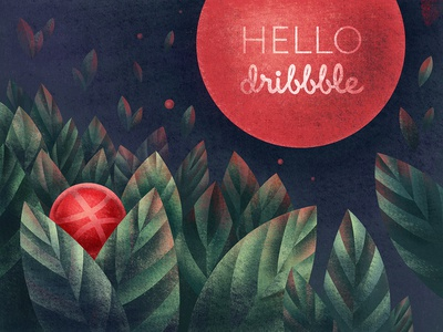 Hello Dribbble off-the-ground leaf textured abstraction illustration hellodribbble