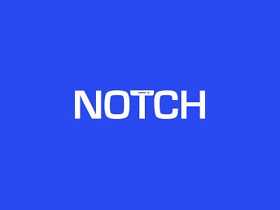 Notch Logo flat blue simple logo notch