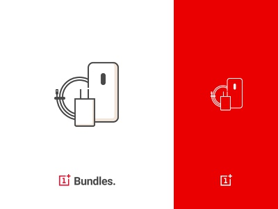 OnePlus Bundles Icon redesign simple red web exploration outline icon oneplus