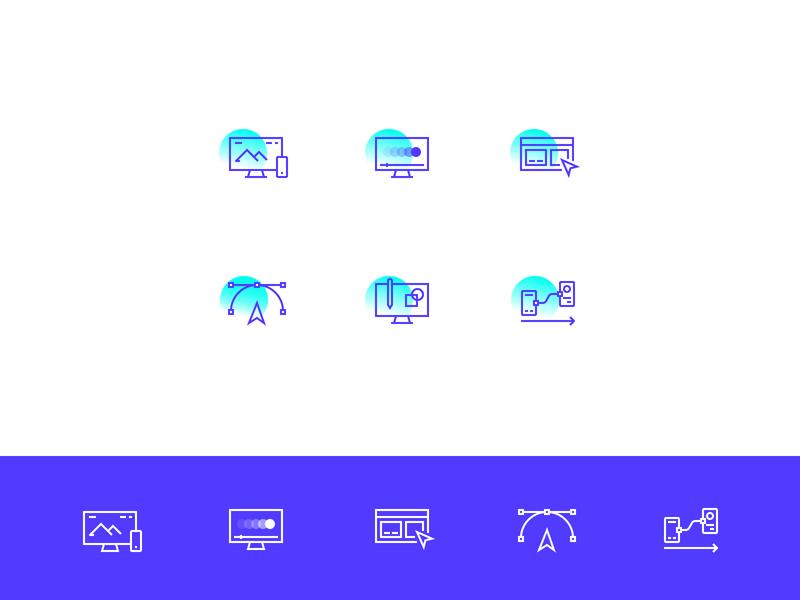 UI Icon Set interface purple ui gradient modern outline pixel perfect icon set