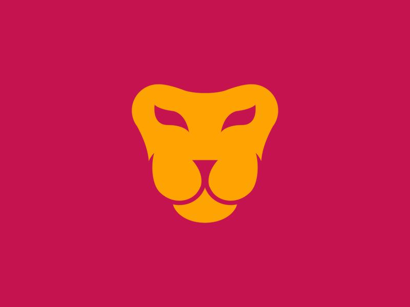 Lion mark maroon concept logo vector exploration lion