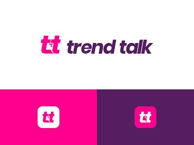 trend talk logo flat purple pink app icon cloud chat talk concept logo