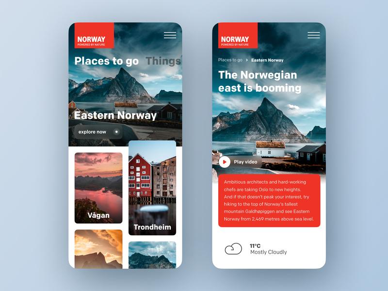 Visit Norway figma nature ui  ux concept norway responsive ui mobile app