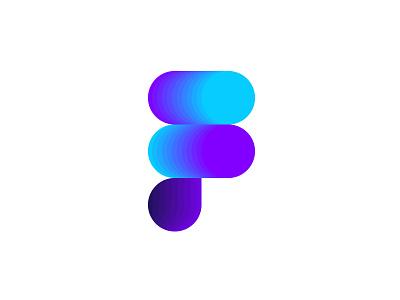 Letter F / Figma logo figma f letter cyan purple illustrator color blend gradient redesign concept logo redesign