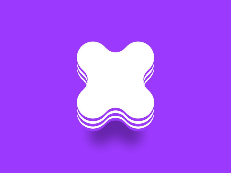 Letter X soft icon logo figma vector layers white purple exploration concept lettermark alphabet type x letter