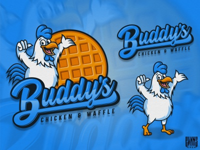 Logo BUDDY'S Chicken & Waffle designs mascotlogo chicken logo waffle chicken illustration logotype logotoons food mascot character logo design ilustration evanscrea behance 99designs