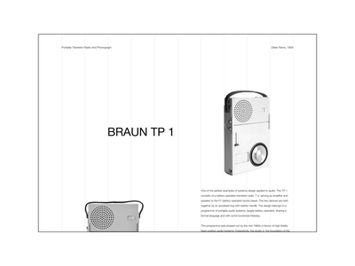 Dieter Rams | Braun TP 1 Concept whitespace layout grid minimal clean blackandwhite ux uiux minimalism graphic design web ui typography inspiration design concept