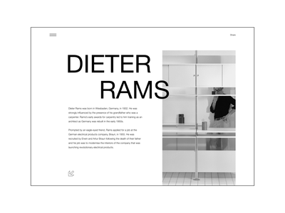 Dieter Rams | Main Screen Concept whitespace layout grid minimal clean bw web design mainscreen dailyui uiux minimalism graphic design web ui typography inspiration design concept