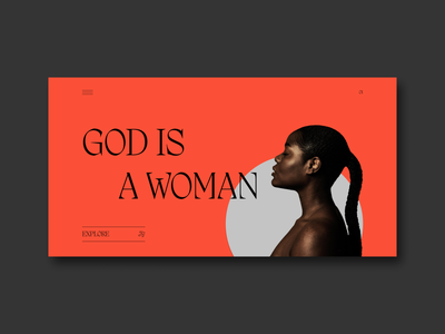God Is A Woman | Main Screen Concept minimal web design website clean ui minimalism mainscreen clean uiux graphic design dailyui ui inspiration typography design concept