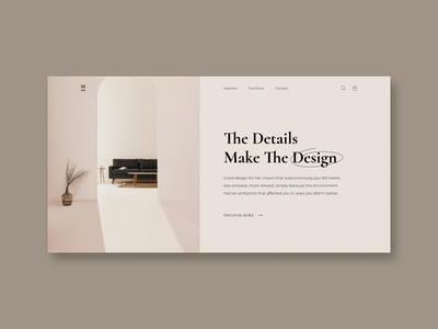 Interior Design Concept First Screen interior pastelcolor interiordesign firstscreen minimalism mainscreen clean web uiux dailyui ui typography inspiration design concept