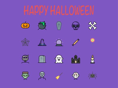 Happy Halloween web filled line ux ui symbol icons set icon pack iconography button icon app halloween icon design