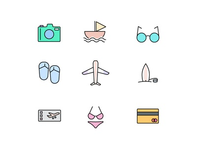 Traveling Icon ux icon set travel vector filled line symbol illustration web ui design button icon pack iconography icon