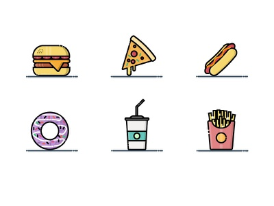 Fast Food Icon app web ux ui fast food illustration vector filled line symbol icon pack iconography icon button design