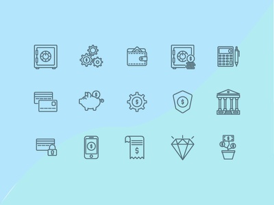 Business & Finance Icon finance business outline ui ux icon pack illustration vector design iconography icon