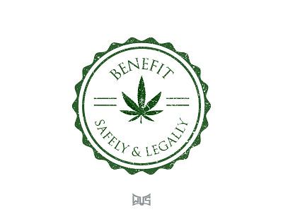 BENEFIT Logo safely  legally cannabis marijuana stamp medical  pharmaceutical graphic  design benefit vector illustration design branding logo