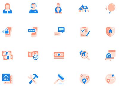 Opendoor icon set flat ui icon set icons design shrimp vector illustration branding