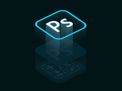 Adobe Photoshop blue art new isometric photoshop dribbble software design adobe