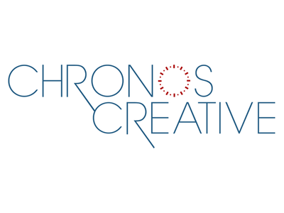 Chronos Creative Logo Design chronos creative time clock logo design branding blue red circle thin type