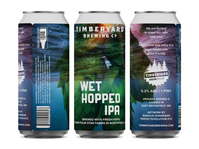 Timberyard Brewing - Wet Hopped IPA Can Design beer branding beer can drinklocal beerlover craftbeer new england massachusetts timberyard wet hopped can packaging 16ozcanvas logo brewery brewery branding pulp art branding beer can