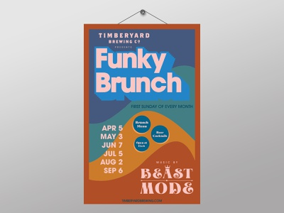 Funky Brunch Event Poster music model beast brewery timberyard brunch funk funky