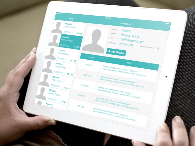 Training Sessions Manager iPad app ipad ui tableview mockup