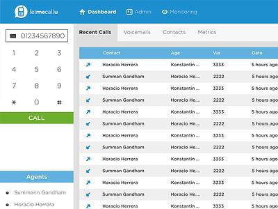 LetmecallU Dashboard (future voz.io) interface saas ux ui webapp