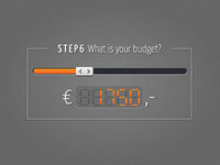 Budget slider concept budget price slider orange