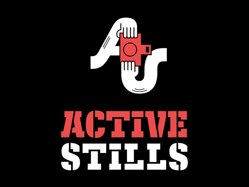 ActiveStills Logo activestills logo branding photography photographer collective documentary photography camera logotype stencil kajak hand