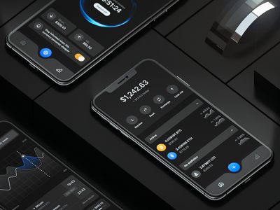 Coin Wallet — Night Theme render 3d mockup black dark ios fintech crypto crypto wallet cryptocurrency blockchain charts ui design clean ux architecture mobile product design uiux