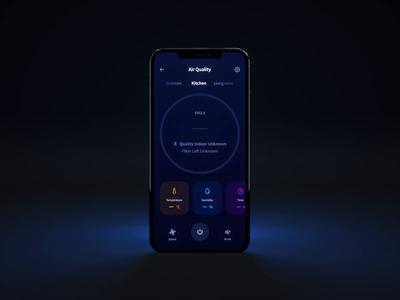 Smart Home — Air Quality animation clean iot smarthome black night mobile interface ux architecture uiuxdesign uiux mobile app design 3d motion