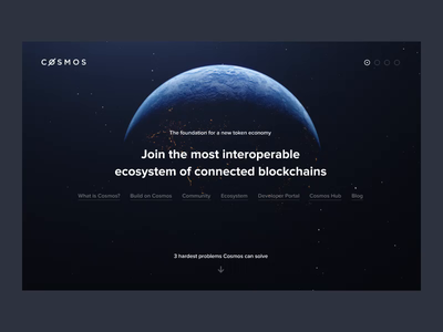 Cosmos — Ecosystem of Blockchains blockchain planet crypto wallet earth cosmos website ux architecture ui design uiux 3d motion web cryptocurrency animation