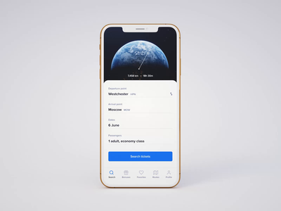 Flight Search — Mobile App Concept animation aircraft web tickets travel booking ios mobile app flight 3d uiux product design